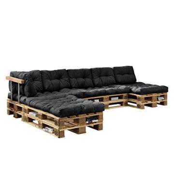 [en.casa] Euro Paletten-Sofa - DIY Möbel - Indoor Sofa mit Paletten-Kissen / Ideal für Wohnzimmer - Wintergarten (4 x Sitzauflage und 6 x Rückenkissen) Dunkelgrau -