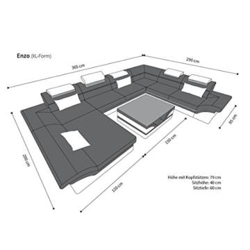 Sofa Wohnlandschaft Enzo XXL Designer Couch + LED schwarz - rot -