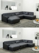 Wohnlandschaft, Couchgarnitur U-Form, ROCKY mit Schlaffunktion 325 x205cm schwarz/grau, Ottomane rechts -